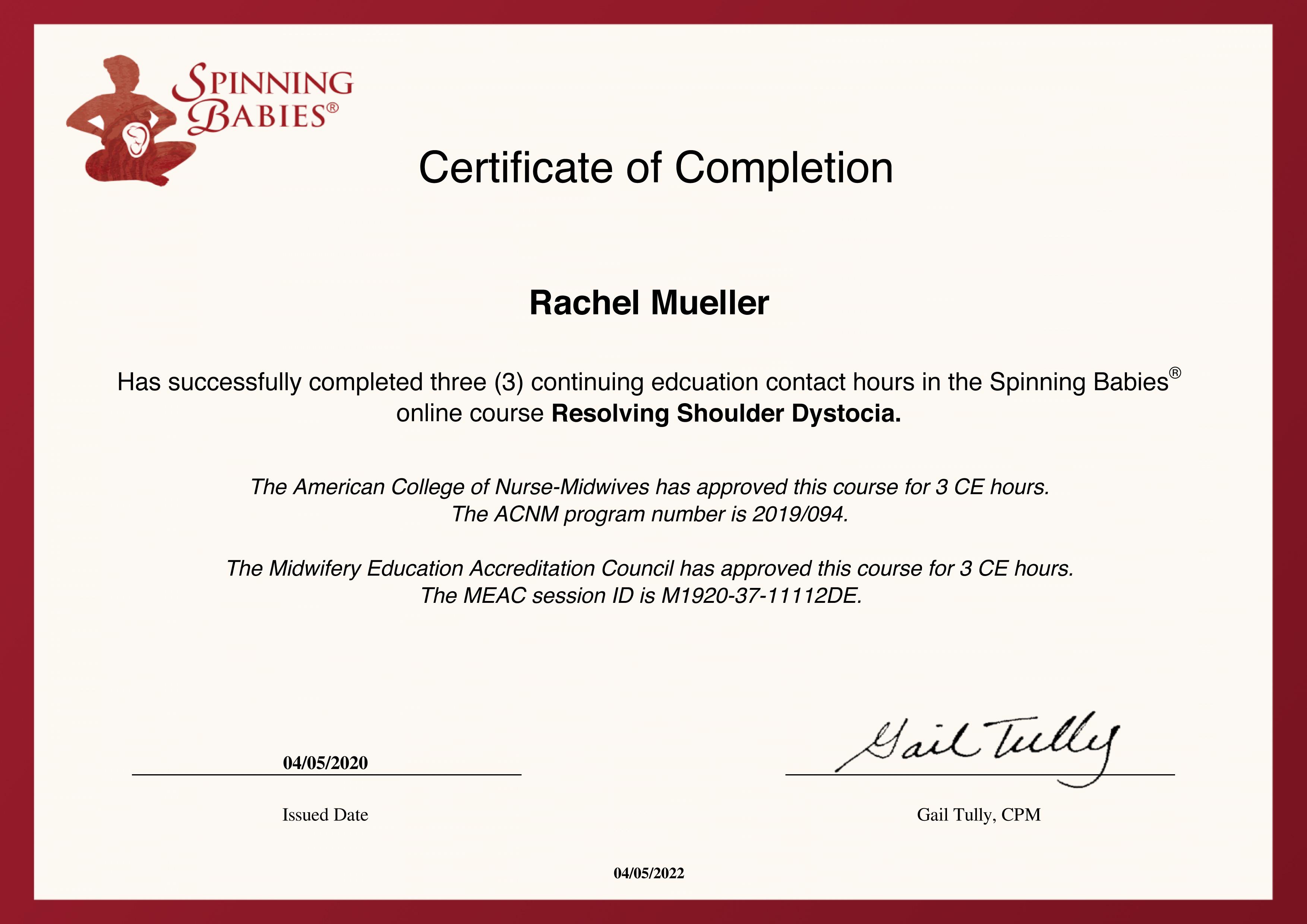 Certification for Resolving Shoulder Dystocia